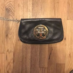 Large Tory Burch black and gold clutch
